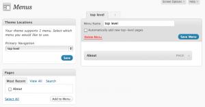 Nav menu settings UI