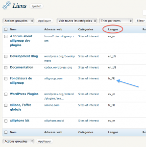Links and language in links manager admin page